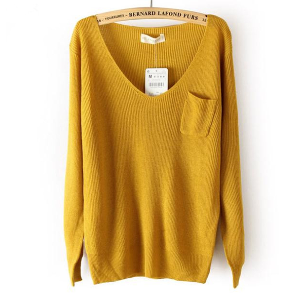 DEEP V COLLAR SWEATER FOR GIRLS Yellow on Luulla