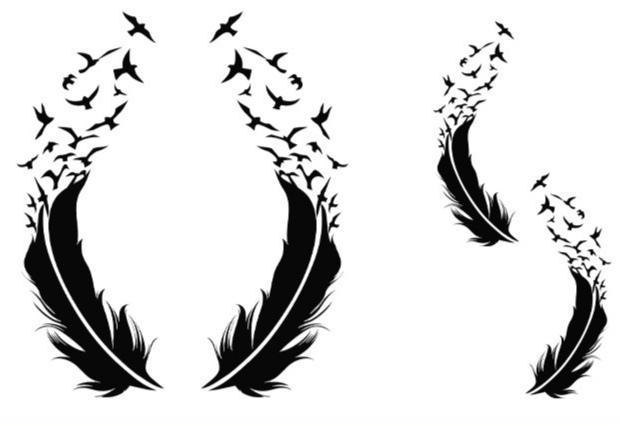 Temporary tattoo sticker feather and birds
